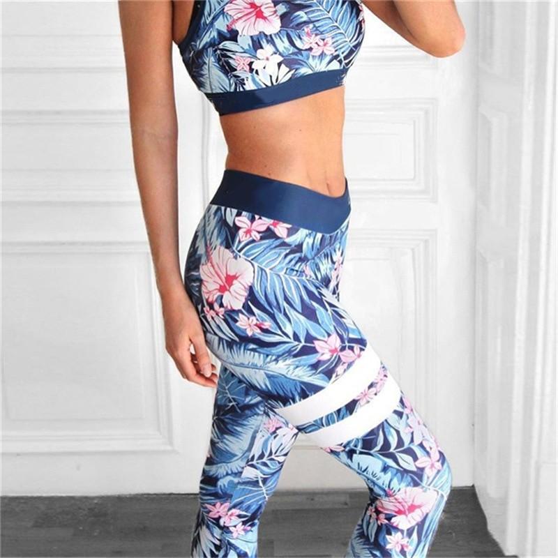 Женский костюм для зала, спорта, йоги, фитнеса, топ и лосины (листья с цветами)