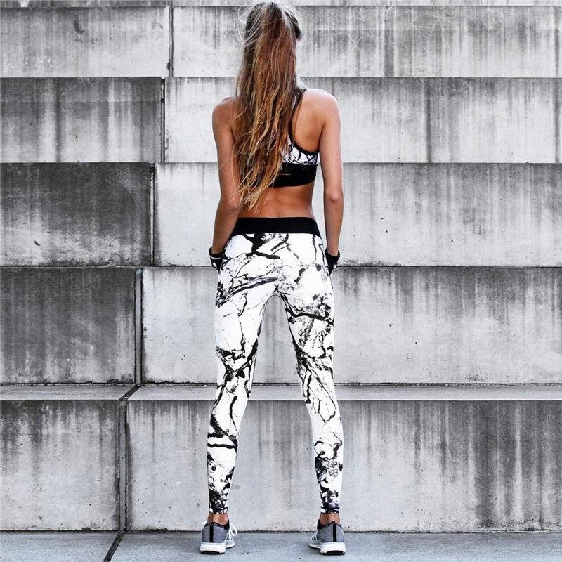 Женский костюм для зала, спорта, йоги, фитнеса, топ и лосины (винтаж, камень черный)