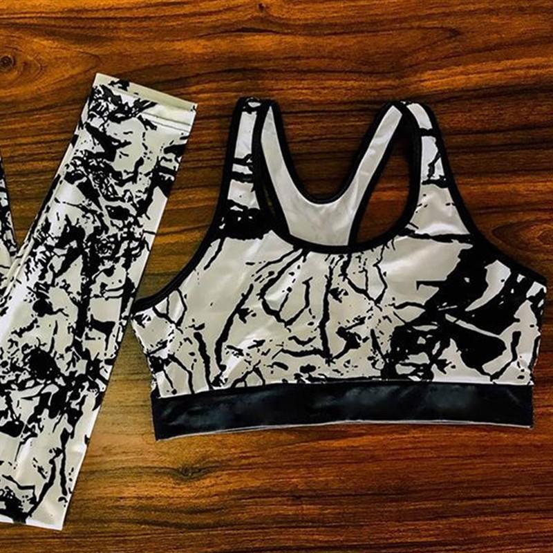 Женский костюм для зала, спорта, йоги, фитнеса, топ и лосины (винтаж, камень белый)