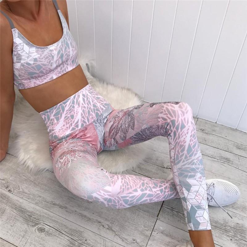 Женский костюм для зала, спорта, йоги, фитнеса, топ и лосины (3D печать)