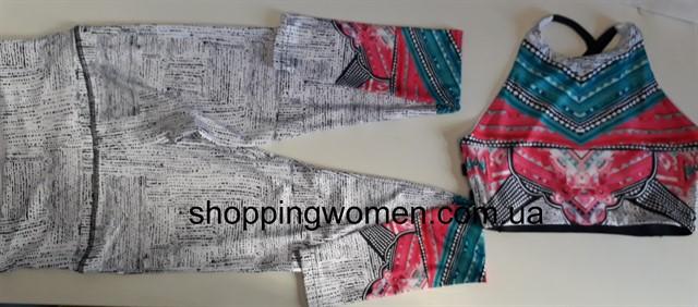 Женский костюм для зала, спорта, йоги, фитнеса, топ и лосины (вязание печати)