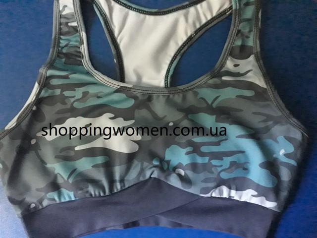 Женский костюм для зала, спорта, йоги, фитнеса, топ и лосины (камуфляж синий)