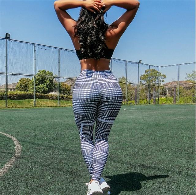 Женские лосины, леггинсы, для зала, спорта, йоги, фитнеса (полосатые квадратные)