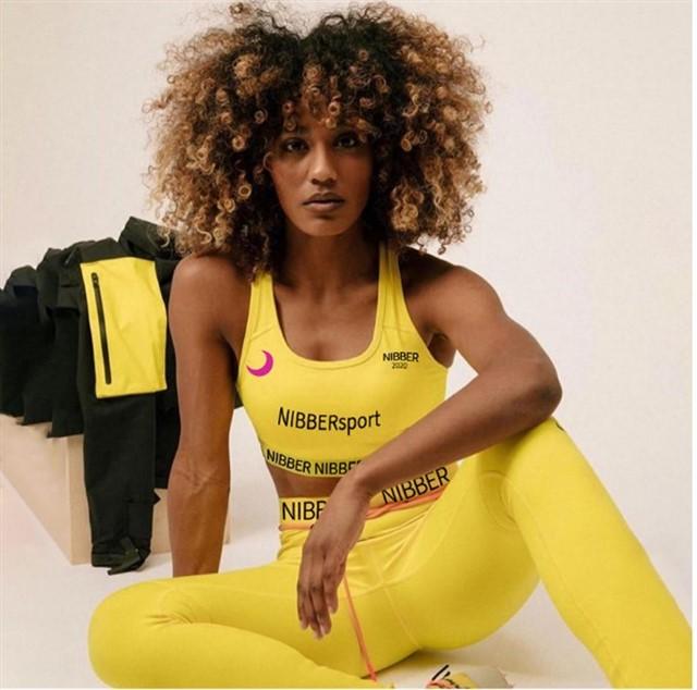 Женский костюм для зала, спорта, йоги, фитнеса, топ и лосины (slim fit)
