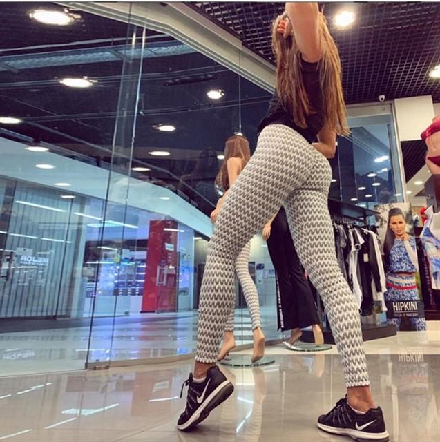 Женский костюм для зала, спорта, йоги, фитнеса, топ и лосины (зигзаг белый)
