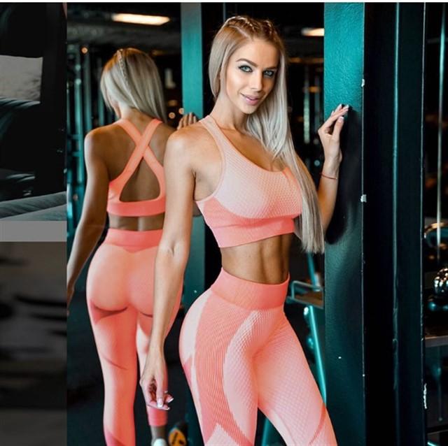 Женский костюм для зала, спорта, йоги, фитнеса, топ и лосины (Slim)