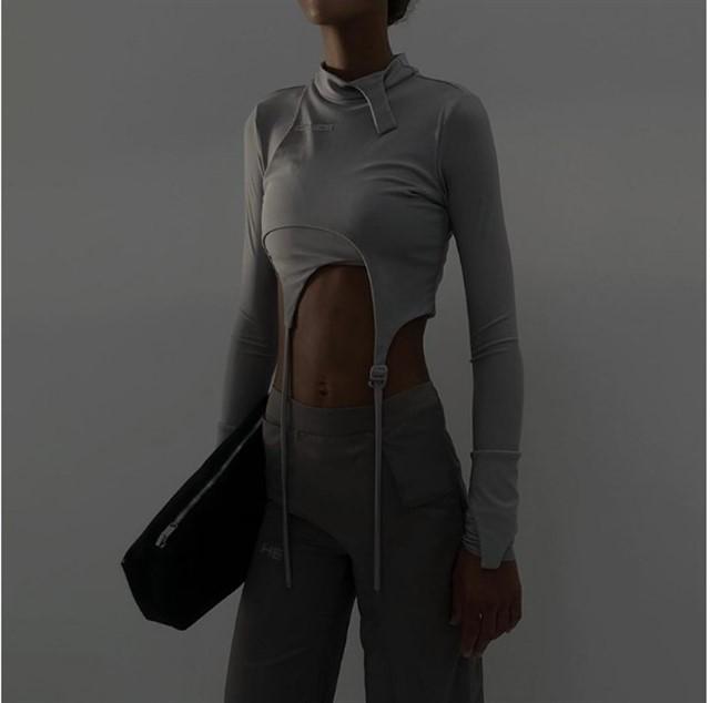 Спортивный женский, обтягивающие из двух частей с длинными рукавами кофта - М