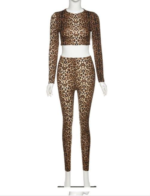 Женский костюм для зала, спорта, йоги, фитнеса, топ и лосины с леопардовым принтом